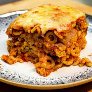 pasta baked in the oven with bolognese sauce sicilian food
