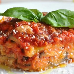 parmigiana eggplant and tomato with basil leaf homemade sicilian delivery amsterdam