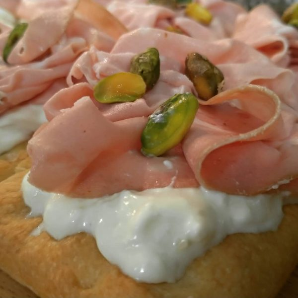 rustic homamade focaccia with burrata and mortadella homemade sicilian delivery amsterdam