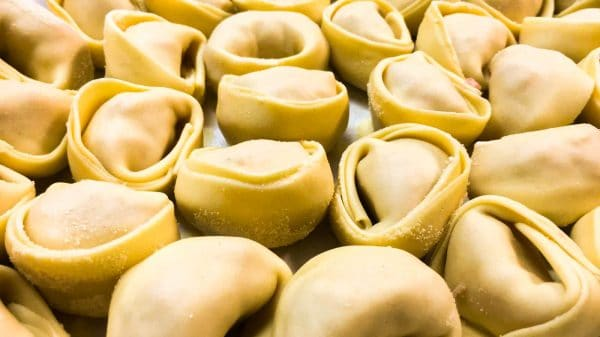 Homemade tortelli stuffed with meat sicilian delivery