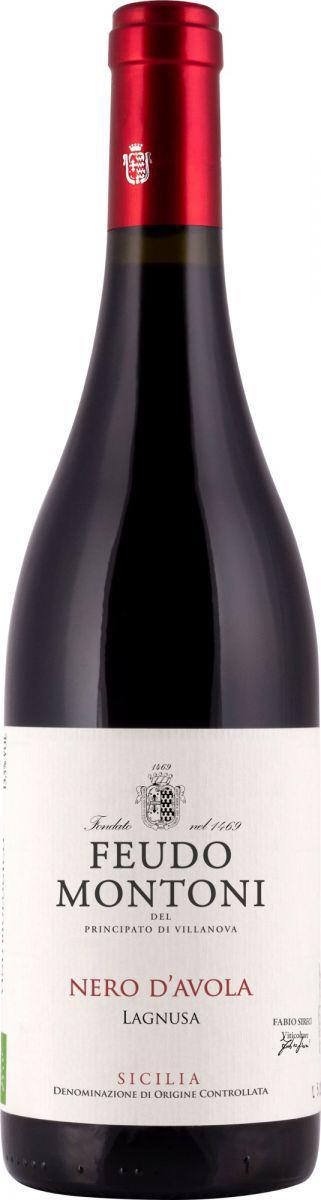 bottle of red wine feudo montoni nero d'avola