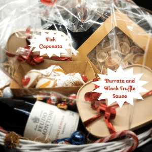 christmas basket dinner for two with sicilian cannoli burrata and truffle sauce fish caponata homemade fresh pasta sicilian delivery amsterdam